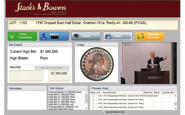 Screen shot shows one of the coins in the D. Brent Pogue Collection being auctioned by Stack's Bowers Galleries with the cooperation of Sotheby's.