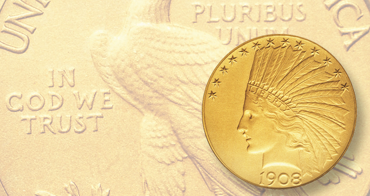 Contemporary collectors found the matte surfaces of this Proof 1908 Indian Head gold eagle unsatisfactory though Mint officials believed traditional polished surfaces were impractical with the new coin designs being introduced. Eight years later, Proof coins were canceled.