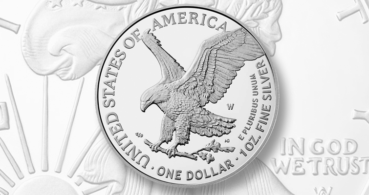 Proof 2021-W Reverse of 2021 silver Eagle