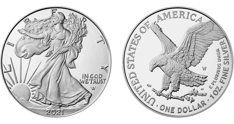 Proof 2021-W American Eagle silver dollar