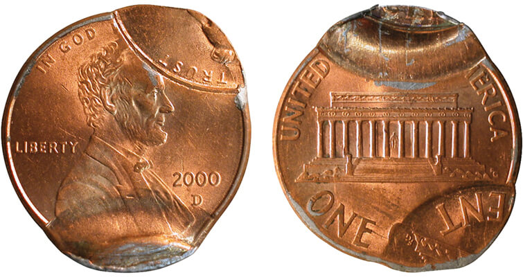 Quadruple-struck 2000-D Lincoln cent obverse and reverse