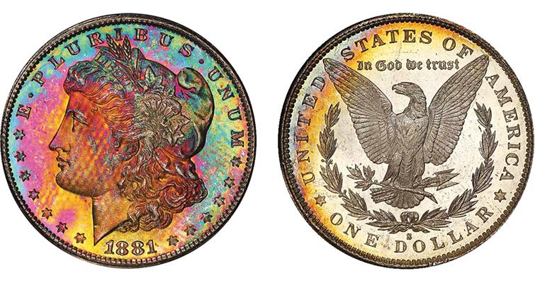 raindow-toned-1881-s-morgan-dollar-freckles-obverse-reverse
