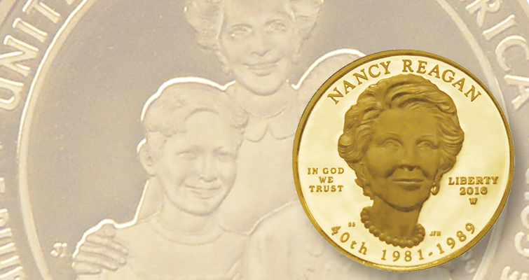 Nancy Reagan First Spouse gold coin last issue in 10-year series