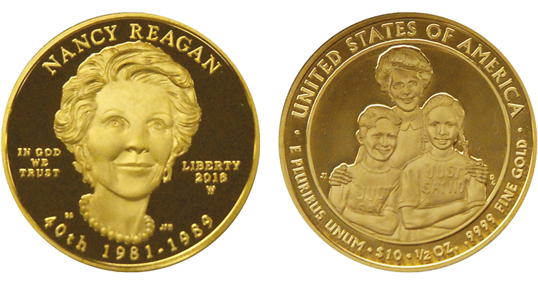 The West Point Mint is already in production for the Proof, shown, and Uncirculated versions of the Nancy Reagan First Spouse gold $10 coins.