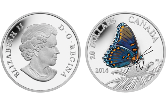 Royal Canadian Mint shows red-spotted purple butterfly on new silver $20 coin in ongoing series