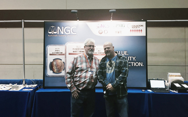 Coin World Senior Editor Paul Gilkes, left, met with Pawn Stars television show star Rick Harrison Jan. 9 during the Florida United Numismatists Convention in Orlando.