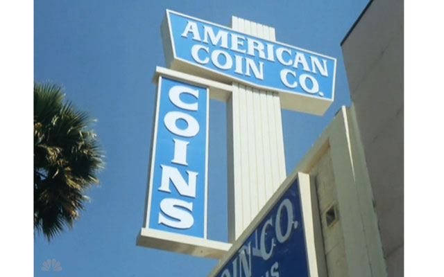 This is the exterior of American Coin Co., a real store that was used as a shooting location in the 1976 episode of The Rockford Files.