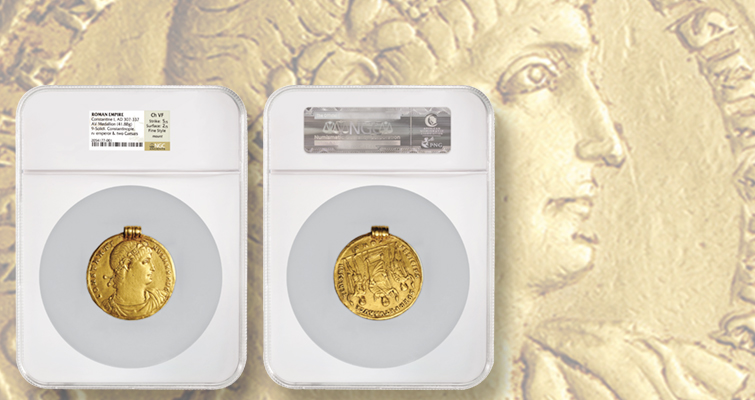 NGC Ancients grades possibly unique Roman gold medallion