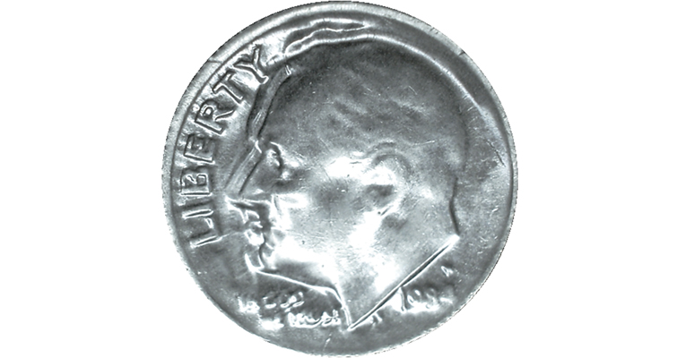 1984-P Roosevelt dime struck by a late-stage die cap