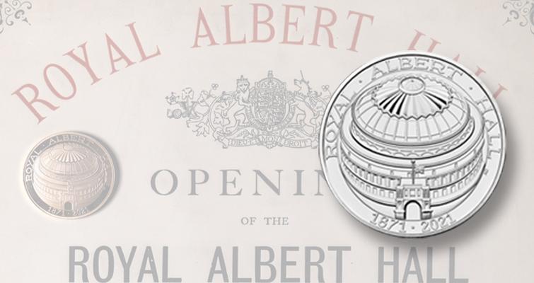 Royal Albert Hall domed Royal Mint coin