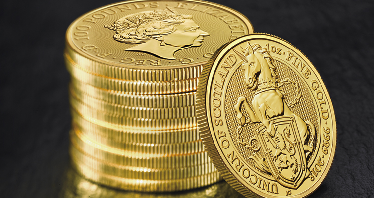 royal-mint-queens-beasts-2018-unicorn-scotland-1-ounce-gold-bullion-coin-stack