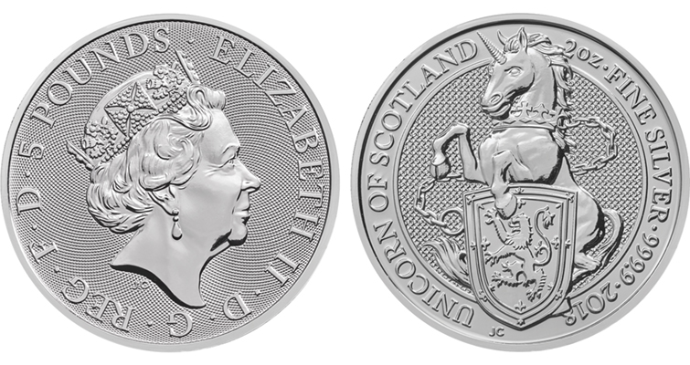 Britain's Royal Mint Queen's Beasts series silver bullion coins