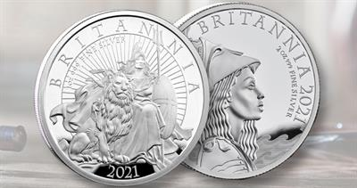 Two designs for 2021 Royal Mint Britannia coins