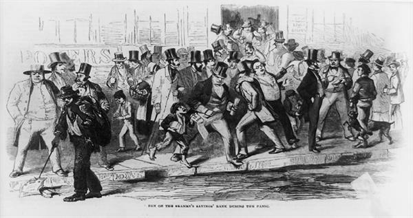 run-on-seamens-savings-bank-during-panic-of-1857