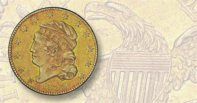 1822 Capped Bust gold half eagle