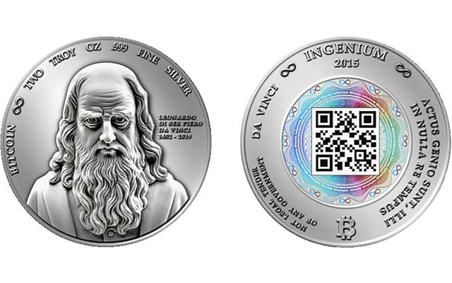 Theres A New Silver Physical Bitcoin Round Featuring Leonardo Da Vincis Portrait