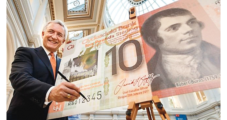 Clydesdale Bank of Scotland expands its use of polymer on its bank notes