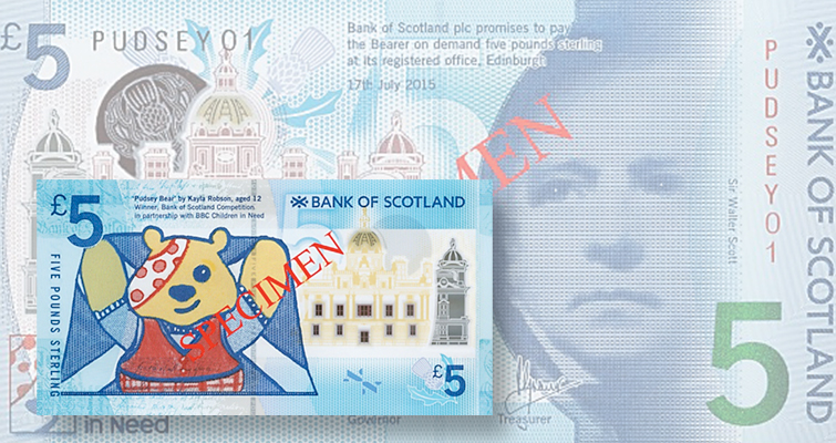 12-year-old girl designs special limited edition £5 note for Bank of Scotland