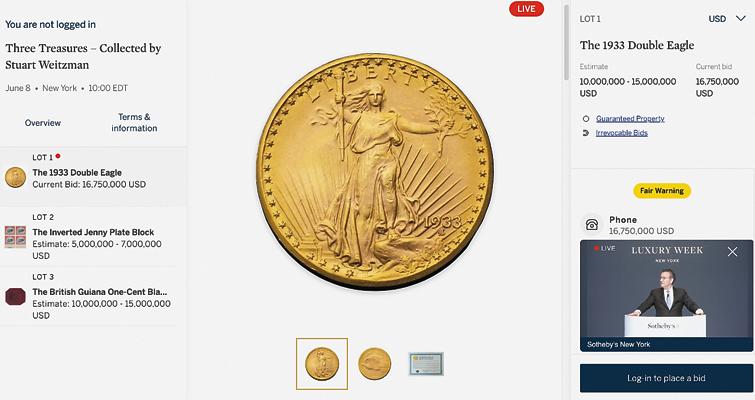 Screen shot of sale