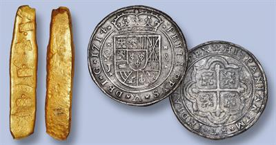 Gold bars and Mexico coins