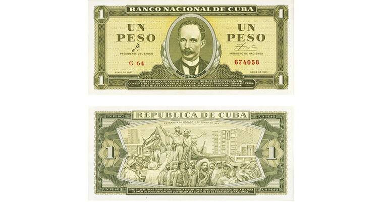 Series 1961 Cuba 1 peso Pick94A merged