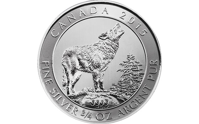 Royal Canadian Mint, APMEX issue small Grey Wolf silver bullion coin