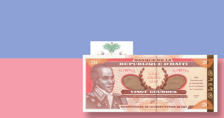 Haiti marks its constitution bicentennial in 2001 with a commemorative bank note