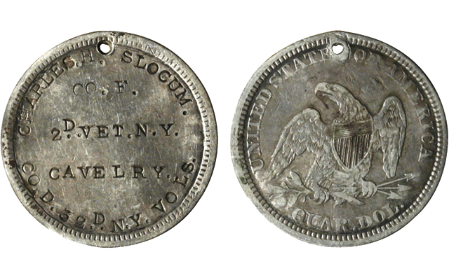 Seated Liberty, No Motto quarter dollar serves as Civil War dog tag for Union soldier