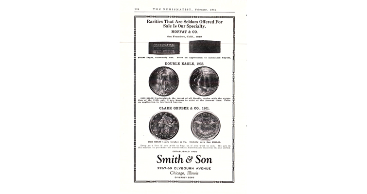 ad by Chicago dealer Smith & Son in the February 1941 issue of The Numismatist