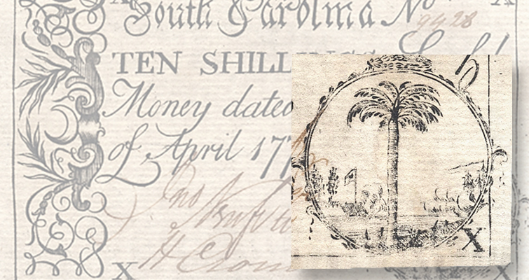 uniface South Carolina 10-shilling note of 1778 lead