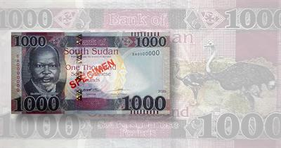 South Sudan 1,000-pound note
