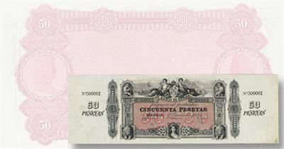 Spain 50-peseta note