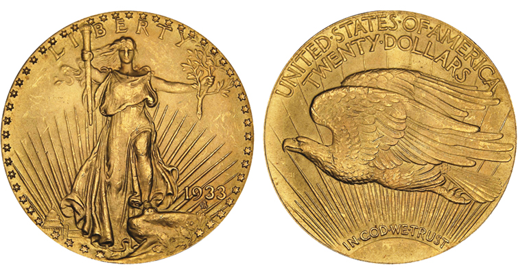 1933 gold double eagle held by U.S. Mint