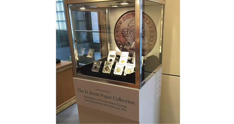 Sotheby's display of coins in Pogue Collection