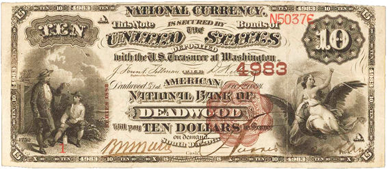 Series 1882 $10 Brown Back national bank note