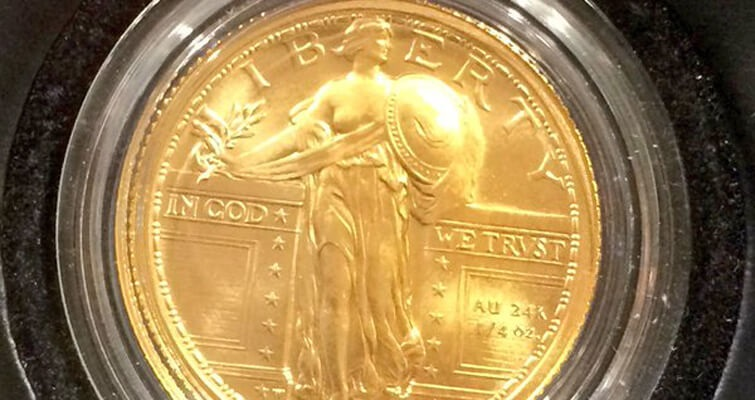 The 2016-W Standing Liberty gold coin was displayed at a coin show in late April, but still has no release date like many other products.