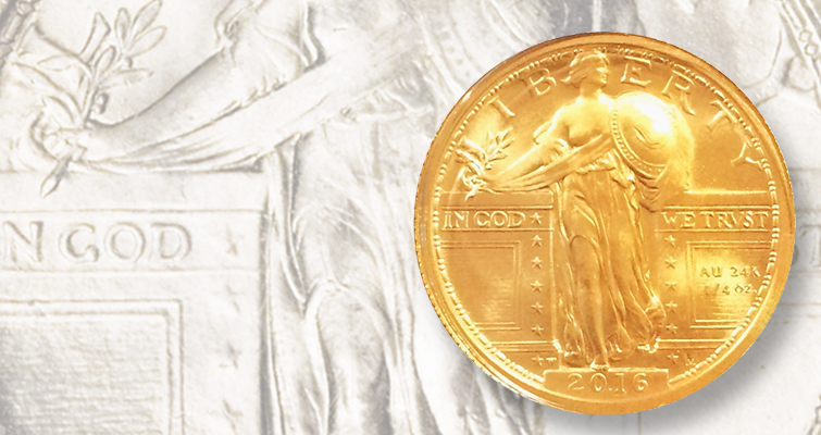 2016-W Standing Liberty gold quarter dollar makes CSNS stop