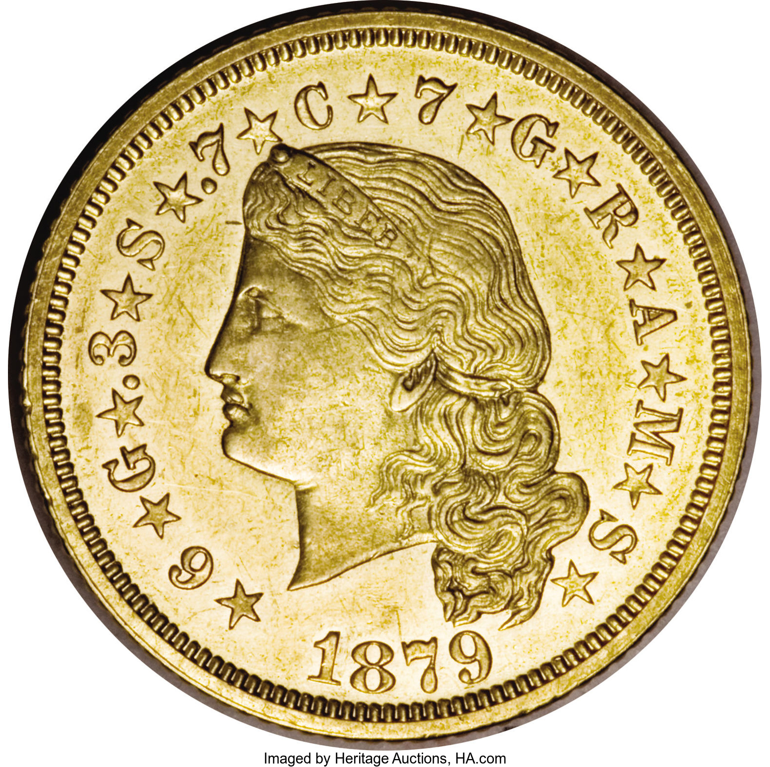 With a mintage of slightly more than 400 pieces, the 1879 Flowing Hair Stella is the most common $4 gold piece.