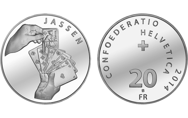 Swiss Mint shuffles the deck with silver 20-franc coin celebrating playing popular card game