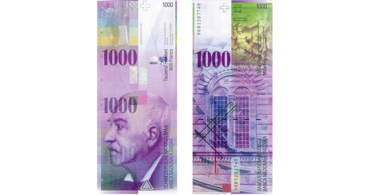 1,000-franc note of the Swiss National Bank