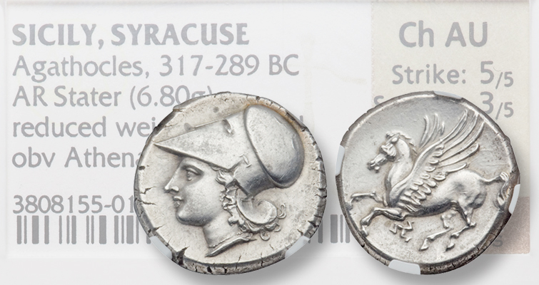 Sicilian silver stater from Syracuse in Fine Style brings $1,997.50