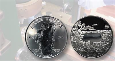 Lake Tahoe medal on coin press