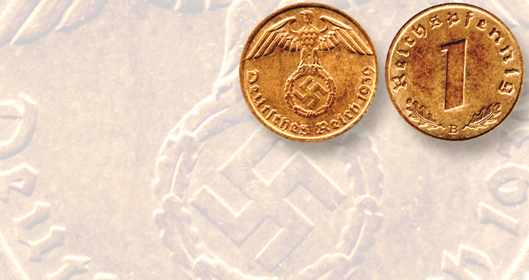 This 1939 Vienna Mint 1-pfennig piece is typical of Nazi coins. It shows an eagle holding a swastika. Hitler appeared on a few pattern pieces, but did not want his portrait on German coins until after he had won the war.