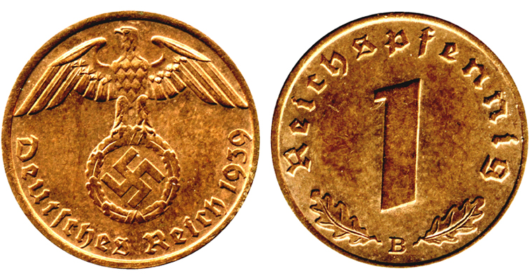 The 1939 Vienna Mint marked 1-pfennig coin, typical of Nazi coins, shows an eagle bearing a wreath framing a swastika. Hitler wanted to wait until after he had won the war before having his portrait on German coins, so although his image appears on a few pattern coins, it never became part of a design on coinage that circulated.