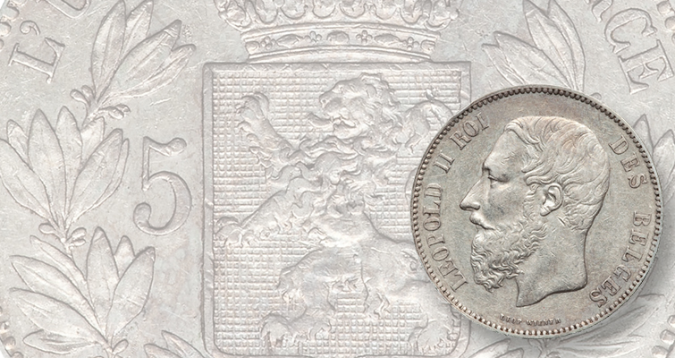 When he wasn't enslaving the natives of the Congo, Leopold II ruled Belgium. Here he appears on an 1873 5 franc piece.