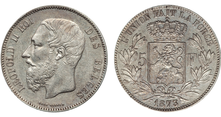 Leopold II ruled Belgium from 1865 to 1909. Here he appears on an 1873 5 franc piece, looking like just another bearded 19th century European monarch. He was benevolent at home, giving workers the right to take Sundays off, but a monster abroad, enslaving the populace and killing and maiming millions in the Congo.
