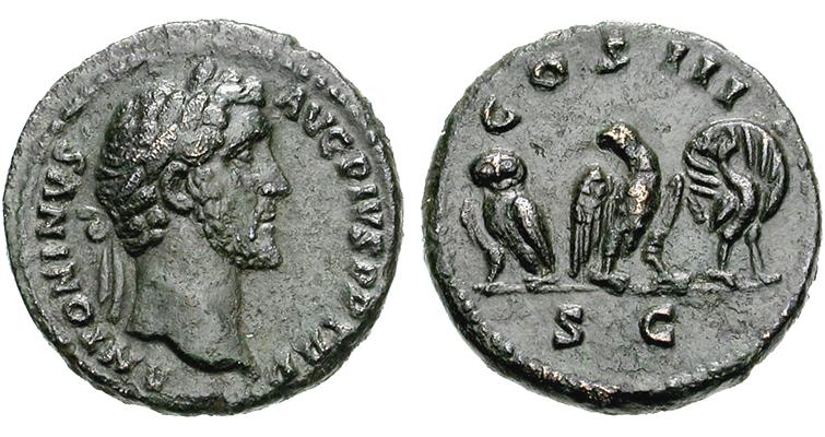 three-sacred-birds-copper-quadrans-antoninus-pius