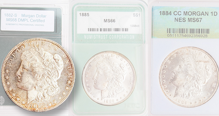 This author's advice: Do not bid based on grades unless coins are holdered by a top tier firm with a good market reputation, such as PCGS, NGC, ANACS or ICG. For example, the 1882-S