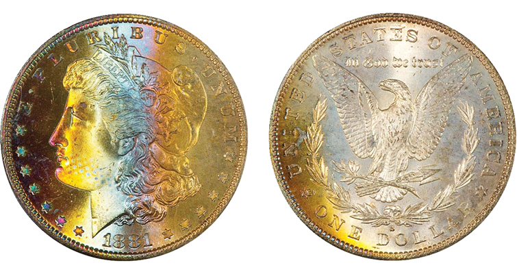 1881-S Morgan dollar toned obverse and reverse