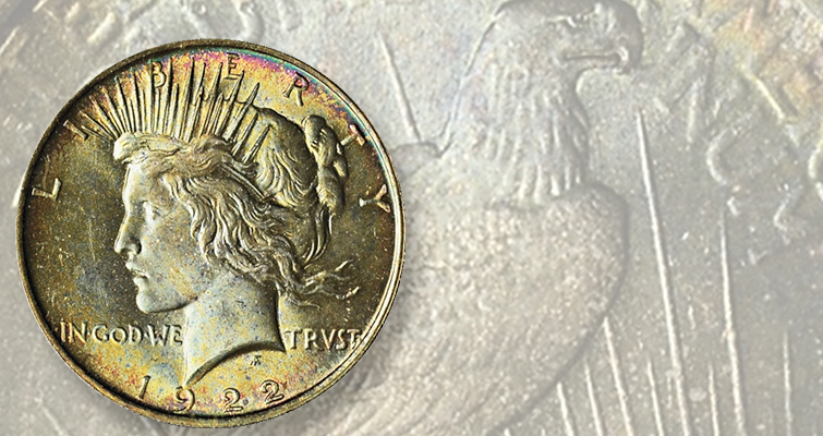 This beautifully toned Peace dollar was won with an $80 bid on Proxibid.